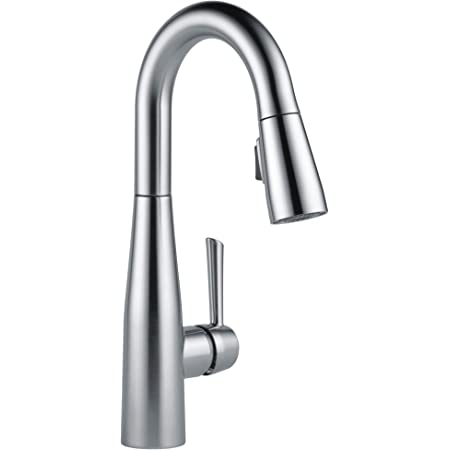 Delta Faucet Essa Single-Handle Bar-Prep Kitchen Sink Faucet with Pull Down Sprayer and Magnetic Docking Spray Head, Arctic Stainless 9913-AR-DST
