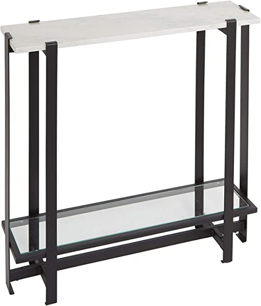 Silverwood CPFT1448B Console Table Faux Marble And Black