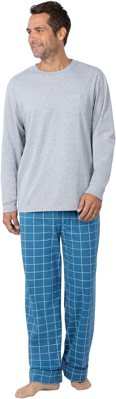 PajamaGram Cotton Mens Pajama Set - Mens Pajamas Long Sleeve Set