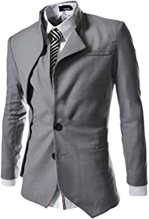 Men's Irregular Blazer Solid Color Slim Fit Coat Casual Single Breasted Business Jacket