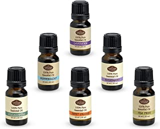 Essential Oil Gift Set - 100% Pure Therapeutic Grade - Great for Aromatherapy 10ml (Set includes Peppermint, Lavender, Sweet Orange, Rosemary, Eucalyptus & Tea Tree)