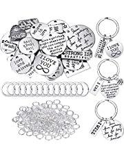 259 Pieces Motivational Keychain Accessory Set Inspirational Words Charms with Open Jump Rings Key Rings for Various DIY Crafting