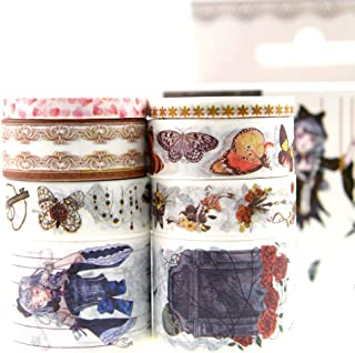 Vintage Gothic Girl Washi Tape Set/Halloween Washi Tape/Retro Butterfly Lace Floral Washi Craft Tape Bulk for Traveler Notebook, Gothic Journal, Scrapbook, Crafting, Photo Album-8 Rolls