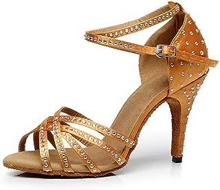 Ballroom Dance Shoes Women 4 inch Dancing Heels High Heel Salsa Shoe Latin Sandals Gold