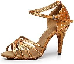 KAI-ROAD Ballroom Dance Shoes Women 4 inch Dancing Heels High Heel Salsa Shoe Latin Sandals Gold
