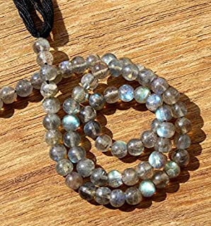 "Jewel Beads Natural Beautiful jewellery Strand 3.5"" 5x5 mm Natural Labradorite Smooth Round BeadsCode:- JBB-17406"