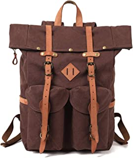 Kemy's Mens Canvas Backpack Leather Rucksack for Men Travel Backpacks Vintage Bookbag with Laptop Compartment Rustic Large Unisex Gifts Dark Coffee