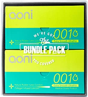 Aoni Condoms Value Pack - Extra Smooth Ultrathin 001 24 PCS Bundle Pack - Collagen-Infused Lubricant - Premium 001 Series