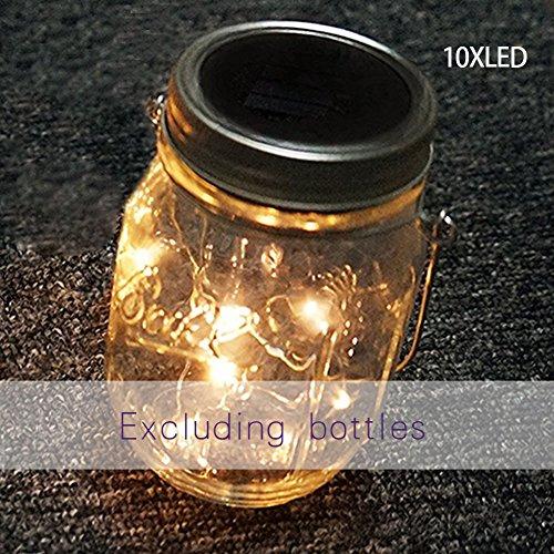 10 LED Mason Jar Solar Luz Farol Patio Jardín Luces Deco Colgante Lámparas UK (Blanco cálido), Warm White, Tamaño Libre