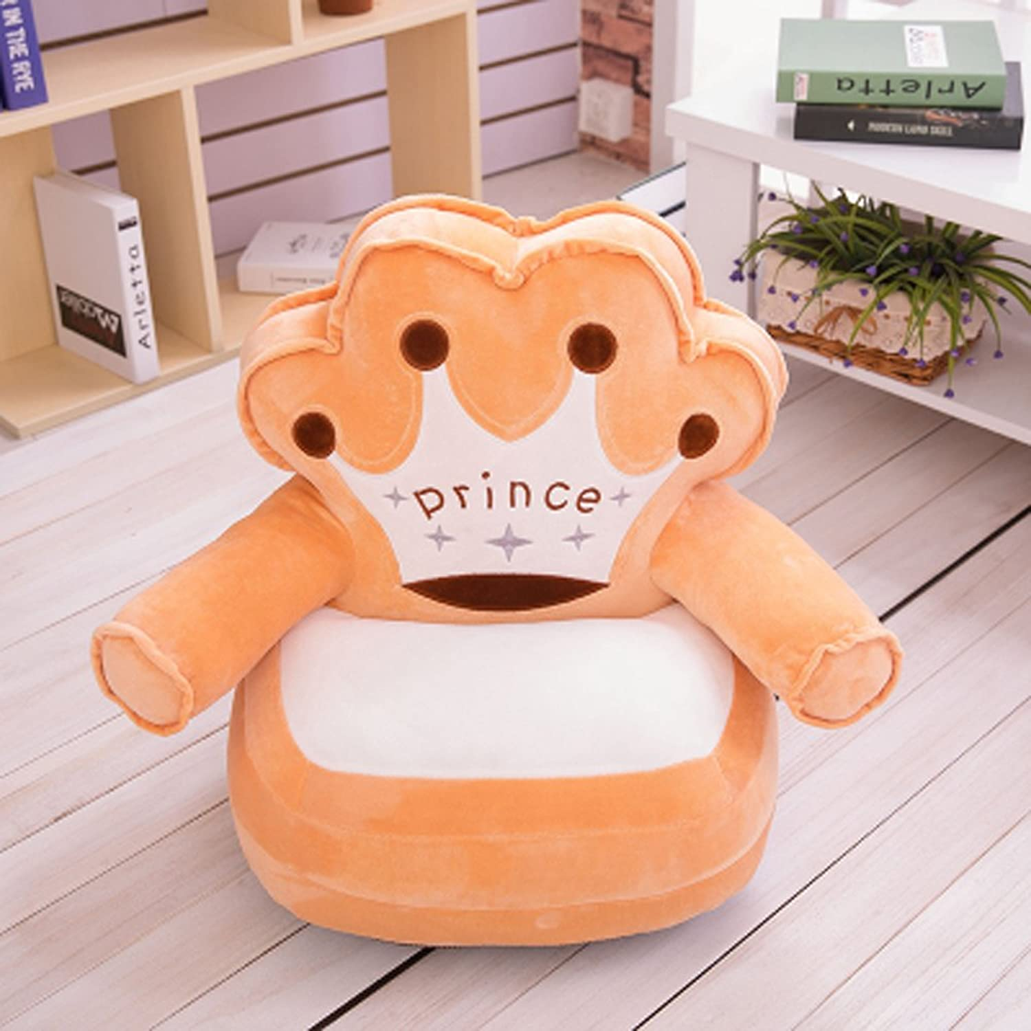 Kids Mini Lounger Sofa,Bean Bag Chair Brown,Novelty Birthday Gift Prince Crown PP Cotton Filler Washable 19 x19