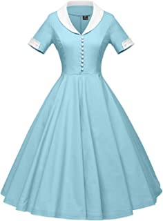 b4fc261b0eeb GownTown Womens 1950s Cape Collar Vintage Swing Stretchy Dresses