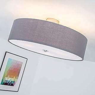 Lámpara de techo moderna con pantalla textil, 3 llamas, Ø 60 cm, 3x E27 max. 60W, Metal / Textil, gris oscuro
