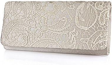 Damen-Handtasche mit Blumenmuster, Spitze, Satin, Abend- und Partyhandtasche, Clutch, Balltasche