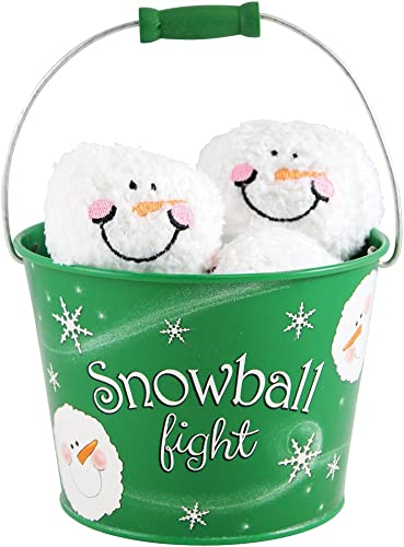 6 Plush Snowmen Balls in a Grün Tin Labeled Snowball Fight, Indoor Play