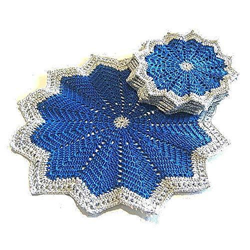 Set centrino e sottobicchieri blu e argento per Natale all'uncinetto - Dimensioni: ø 25 cm e ø 15 cm - Handmade - ITALY