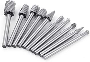 HSS Cutting Burr Bits Set for Dremel Rotary Tool Metal Woodworking Router Grinding 10 Piece High Speed Cutter Single Cut Burs M2 Steel 1/8