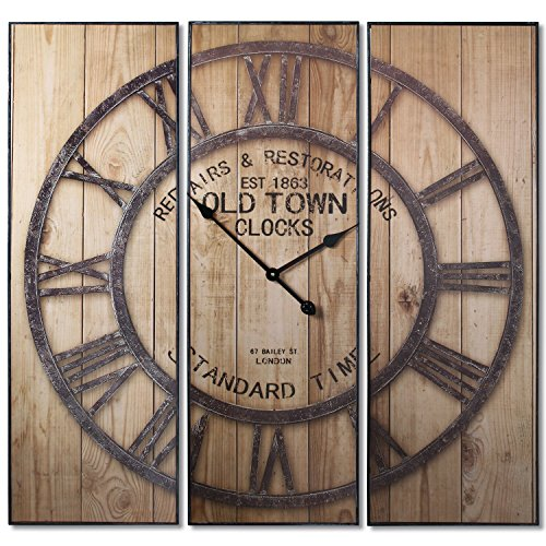SuskaRegalos-Reloj Pared Hierro/madera En Triptico _conjunto:90x3x30 Cm
