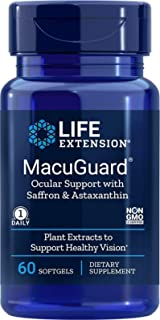 Life Extension MacuGuard Ocular Support with Saffron & Astaxanthin, 60 Softgels