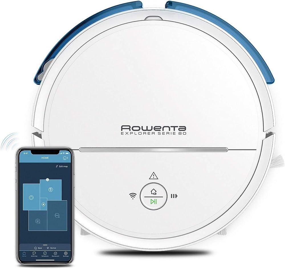 Rowenta - robot aspirapolvere e lavapavimenti navigazione intelligente, connesso RR7747WH