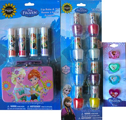 Disney Frozen Toys and Games Cosmetic Gift Set Lip Balm and Tin with Disney Frozen Nail Polish Set with Disney Frozen Rings