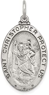 Christopher Reversible Football Medal Charm Pendant .925 Sterling Silver St