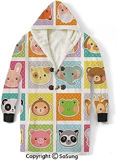 Kids Blanket Sweatshirt,Zoo Animal Faces Print on Polka Dot Background Cartoon Style Manga Style Art Print Decorative Wearable Sherpa Hoodie,Warm,Soft,Cozy,XXL,for Adults Men Women Teens Friends,Whit