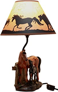Ebros Gift Chestnut Horse Mare & Foal By Ranch Fence Desktop Table Lamp With Shade Home Decor 19