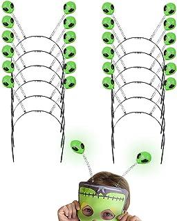 Kicko Glow Alien Bopper of Extraterrestrial Glowing Headbands - Alien-faced Antenna, 10 Inch, 12 pieces