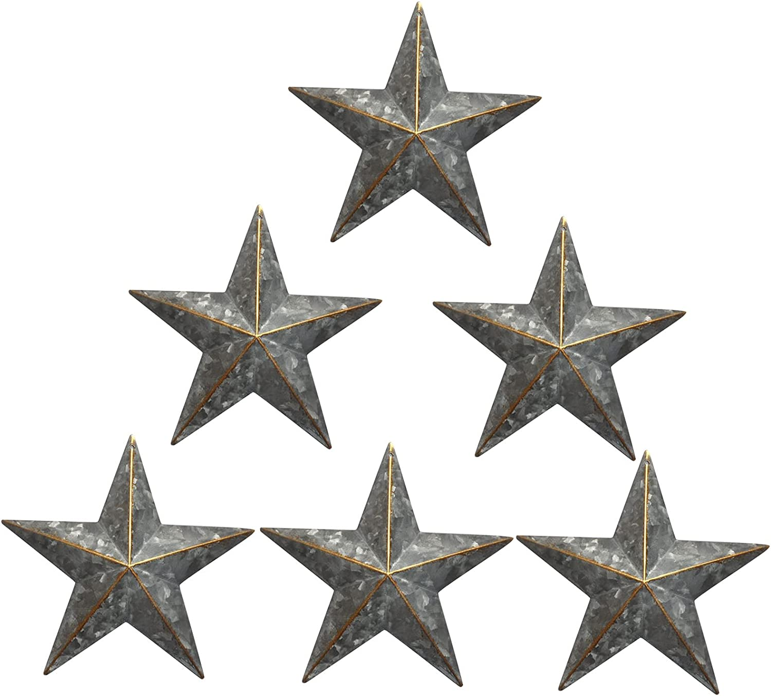 Galvanized Barn Star/Metal Stars for Outside Texas Stars Art Rustic Vintage Western Country Home Farmhouse Wall/Door Decor,Country Indoor Outdoor Christmas Home decor, Quality Gift as Star Decorations 5-1/2Inch, Set of 6.(Galvanized)