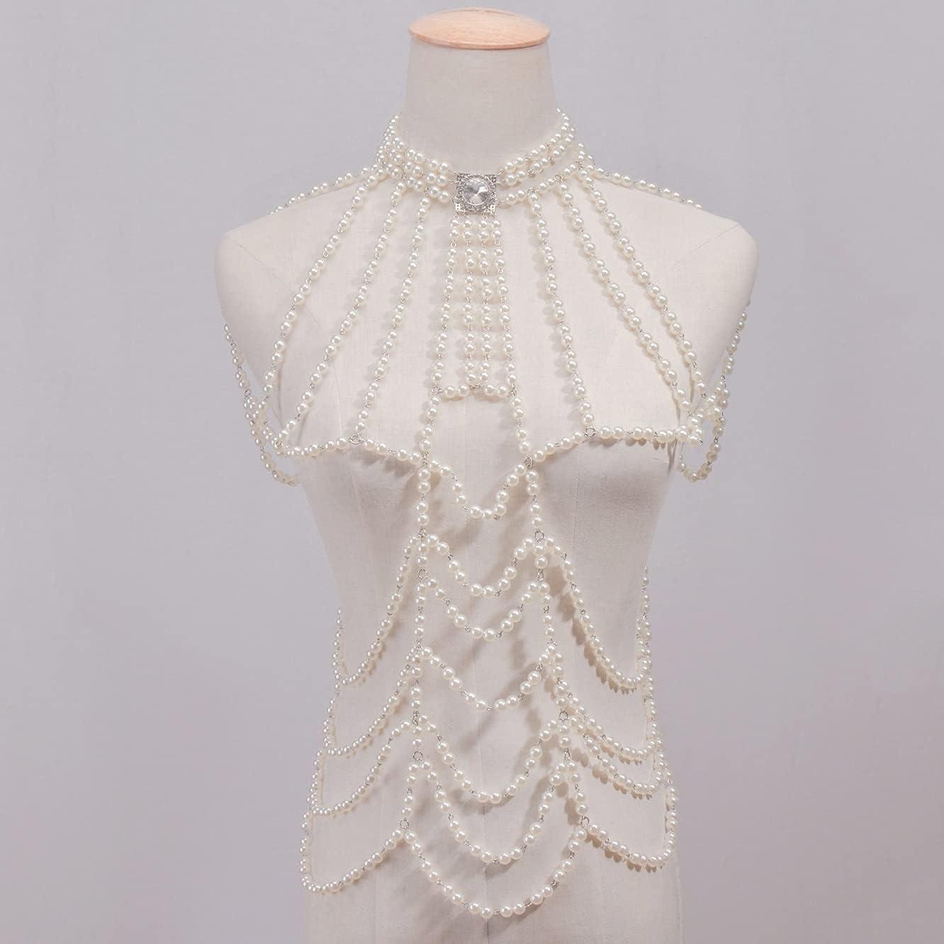 UXZDX Boho Imitation Pearls Statement Chains Pendant Dress Jewelry Pearls Beads Bikini Harness Body Chain Wedding Jewelry