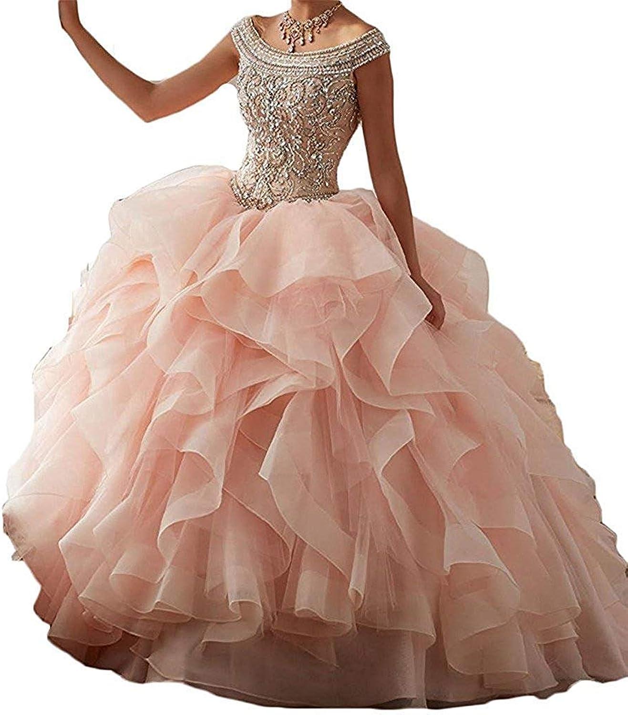 ANFF Women Sweet 16 Off Shoulder Ruffled Skirt Quinceanera Dresses Prom Ball Gowns