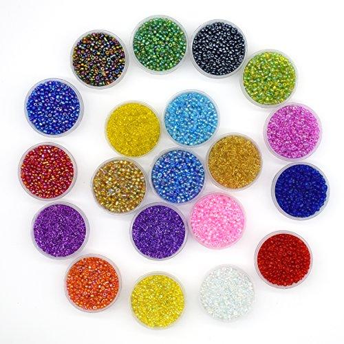 Cuentas de cristal multicolor, cuentas redondas de cristal de 2 mm, aproximadamente 16.000 piezas, 20 colores, redondas, con línea de cuentas de 0,6 para manualidades de 10 metros de largo, de YUEKUI