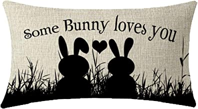 NIDITW Sister Gift Happy Easter Lovely Rabbits Some Bunny Loves You Lumbar Cotton Linen Throw Pillow case Cushion Cover Pillowcase Sofa Chair Decorative Rectangle Oblong 12X20 Inches