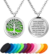 CLY Jewelry Tree of Life Love Aromatherapy Essential Oil Diffuser Necklace Stainless Steel Locket Pendant 12 Pads