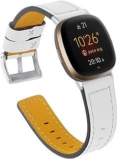 Jennyfly Versa 3 Bracelet de rechange fin en cuir réglable 14 à 20,3 cm pour homme et femme Compatible avec Fitbit Versa ...