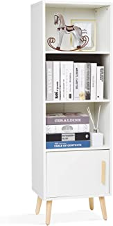 Meerveil - Bibliothèque - Meuble de Rangement avec 1 Porte et 3 Casiers en Bois Style Scandinave pour Salon Chambre 42 x 3...