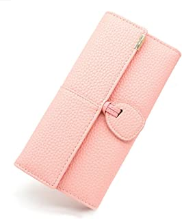 Womens Rfid Blocking Leather wallet ladies long wallet Travel purse Multi Card Trifold (Pink)