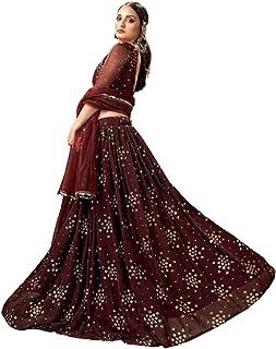 فستان نسائي هندي بني بتصميم رائع لحفلات الزفاف جورجيت ليهينغا شولي فستان تنورة شاغارا 6210