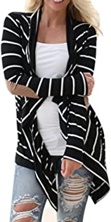 Womens Cardigans Casual Striped High Low Long Sleeve Open Front Blouses Patchwork Outwear