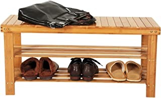 Bonnlo 100% Natural Bamboo Shoe Bench 2-Tier Shoe Rack Organizer Entryway Storage Shelf 35.4 x 11 x 17.7 Inches L x W x H for Closet Bathroom Bedroom Balcony