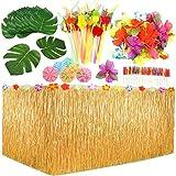 109Piezas Juego de Decoración de Fiesta Hawaiana Luau, 9 Pies Falda de Mesa Hawaiana, Hojas de Palma, Flores Hawaianas, Sombrillas Multicolores Pajitas de Frutas 3D