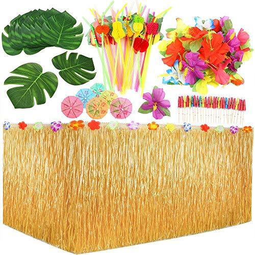 Hawaii Luau Tischröcke - 109 Stück tropisches Partydekoration Set, 9 ft Hawaiian Luau Hibiscus Gras Tisch Rock für BBQ tropischen Garten Strand Sommer Tiki Party Dekoration Hawaiian Party Decorations
