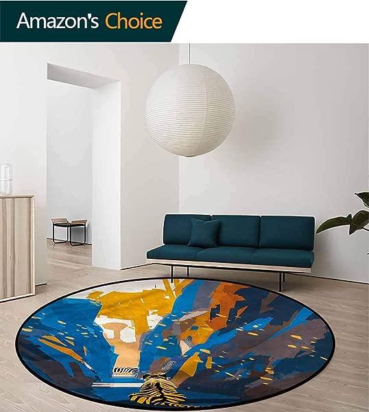 RUGSMAT Fantasy Modern Machine Round Bath Mat Tiger Striped In City Floor Mat Home Decor Round 31