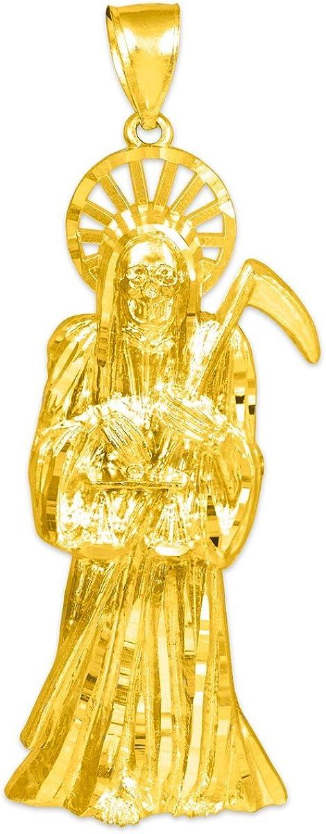 Skeleton Jewelry 10k Yellow Gold Santa Muerte Grande Protection Charm Pendant
