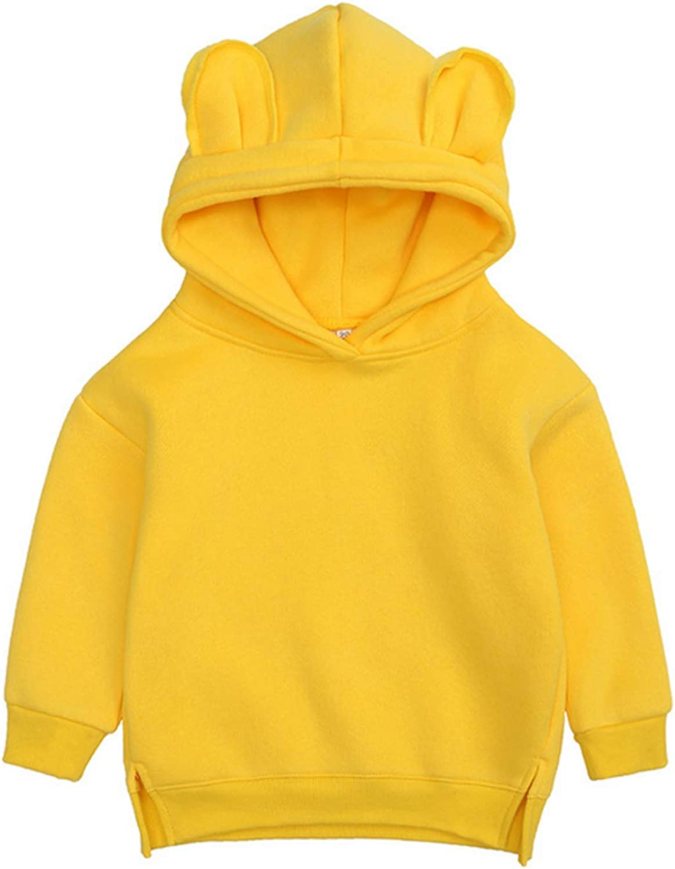 Toddler Baby Boys Cartoon Hoodie Bear Ear Sweatshirt Solid Colors Long Sleeve Pullover Coat Outerwear
