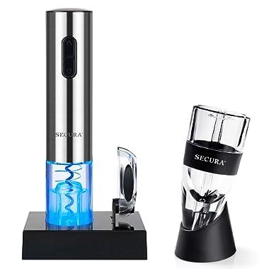 Secura Electric Opener, Foil Cutter, Wine Aerator, Automatic Electric Wine Bottle Corkscrew Opener Set