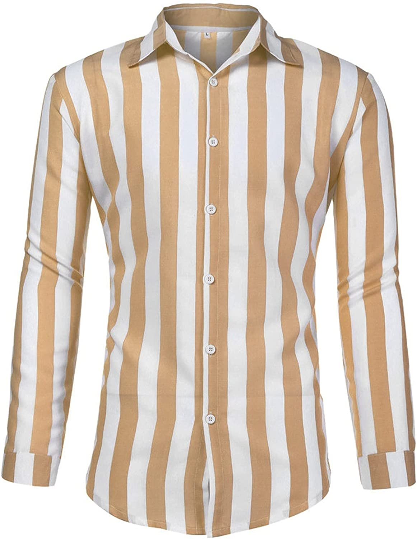 Huangse Casual Long Sleeve Striped Shirt for Men Relaxed Fit Button Down Lapel Shirt Autumn Thin Shirt