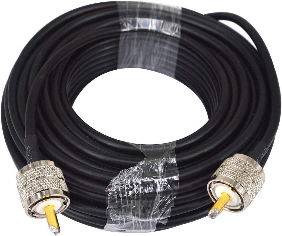 YILIANDUO UHF Cable UHF PL-259 Macho a UHF PL259 Macho Coaxial Cable RG58 15M Baja pérdida de WiFi Coaxial para radioaficionado Radio móvil Aficionado ...