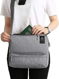 Lixada Travel Bag Document Organizer Bag Passport Portfolio Storage Holder Shoulder Bag Business Messenger Briefcase for Men and Women