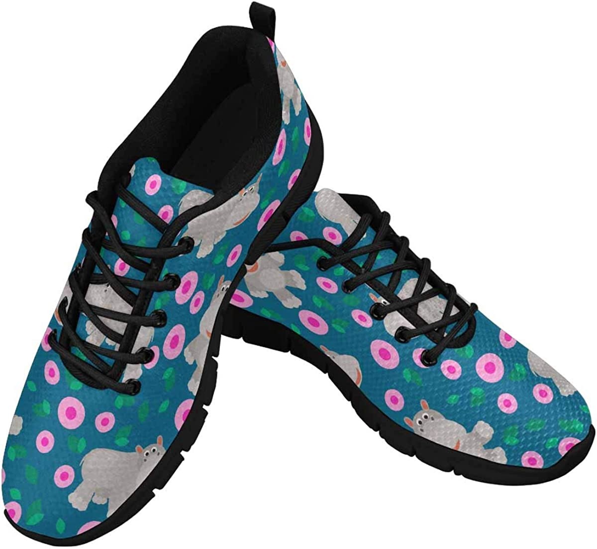 INTERESTPRINT Wild Animal with Pink Flowers Women's Lace Up Running Comfort Sports Sneakers